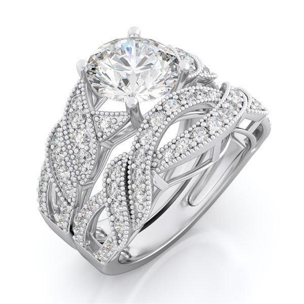 3.5 CT Round Brilliant cut Engagement Ring set * Sz 8 *New*FREE Gift Box *