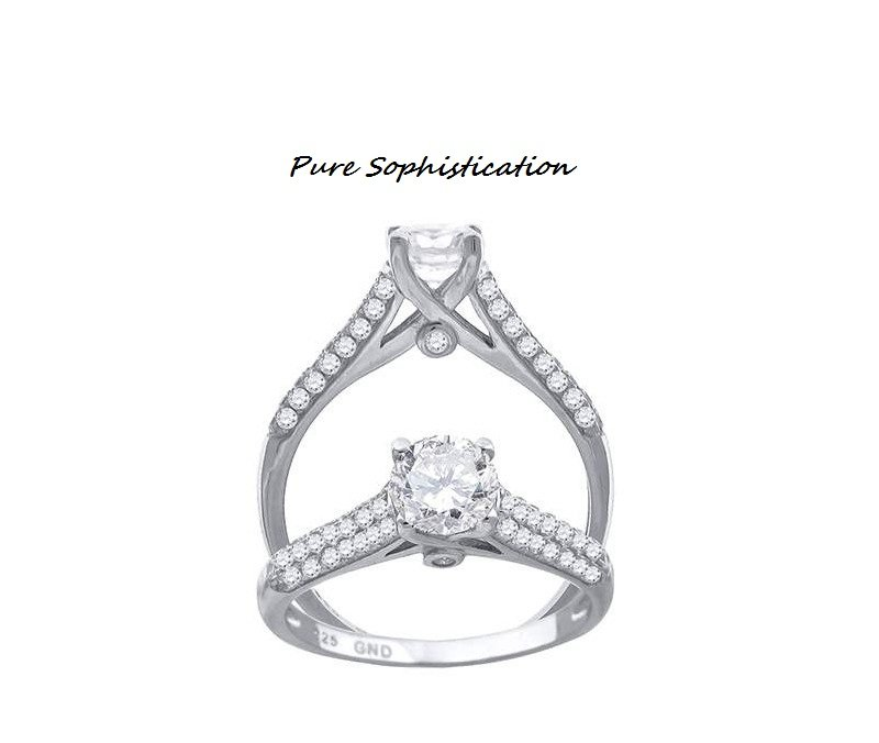 Engagement Solitaire Ring * Sz 7 * Solid .925 Sterling Silver *