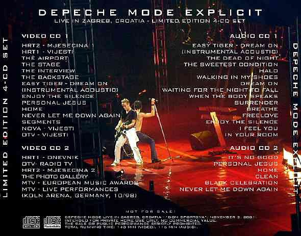 Depeche Mode: EXPLICIT - 4 CD/Video CD set, Zagreb, CROATIA