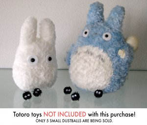 5 DUST BALLS Totoro Spirited away Ghibli HANDMADE plush figurines toys Soothsprite