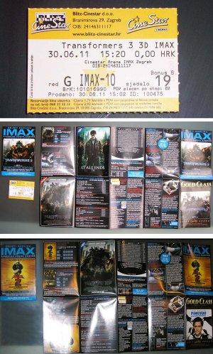 Transformers 3 Dark of the Moon Croatian IMAX movie program + ticket stub