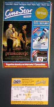 Croatian MOVIE PROGRAM + TICKET stub + PRESS Photo promo Twilight: Breaking Dawn part 1