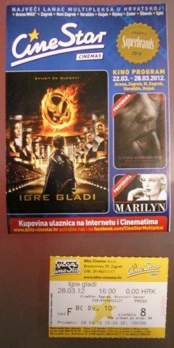 MOVIE PROGRAM + TICKET stub  + digital PRESS photo set Croatia, The Hunger Games promo