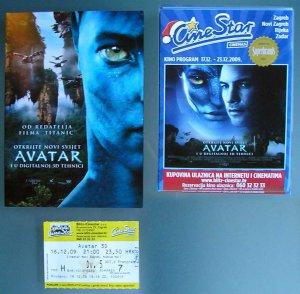 James Cameron Avatar - 2 movie PROGRAMS + TICKET stub Croatia