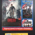 MOVIE PROGRAM + TICKET stub Croatia, Dredd 3D, Karl Urban, promo