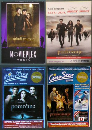 4 Croatian MOVIE PROGRAMS Twilight Saga: Breaking Dawn Part 1 & 2 New Moon Eclipse Stewart Pattinson