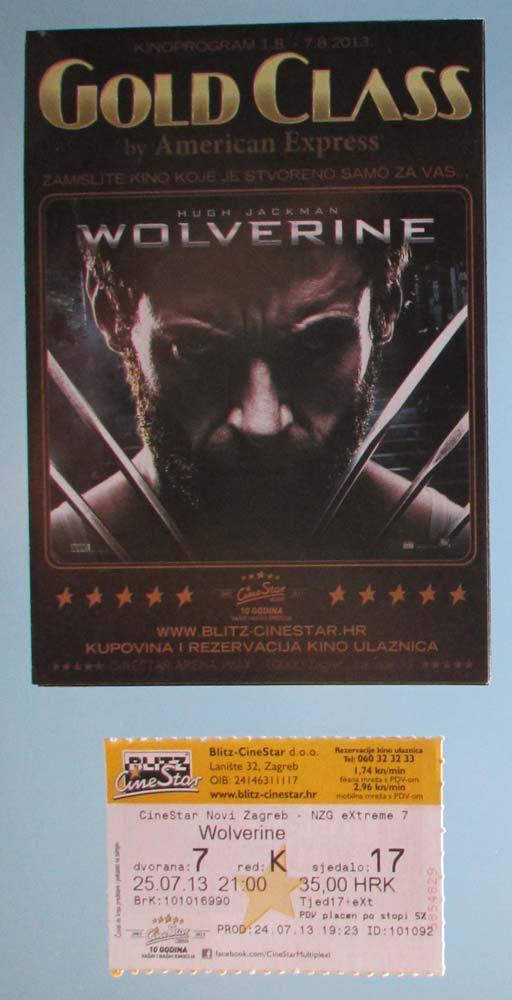 MOVIE PROGRAM + TICKET stub Croatia, The Wolverine, Hugh Jackman promo