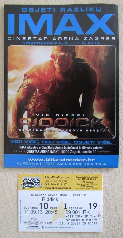 2 MOVIE PROGRAMS + TICKET stub Croatia, Riddick, Vin Diesel, promo