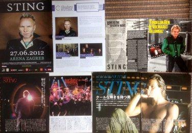Sting - 11 Japanese, Croatian, Swedish vintage & new magazine clippings rare