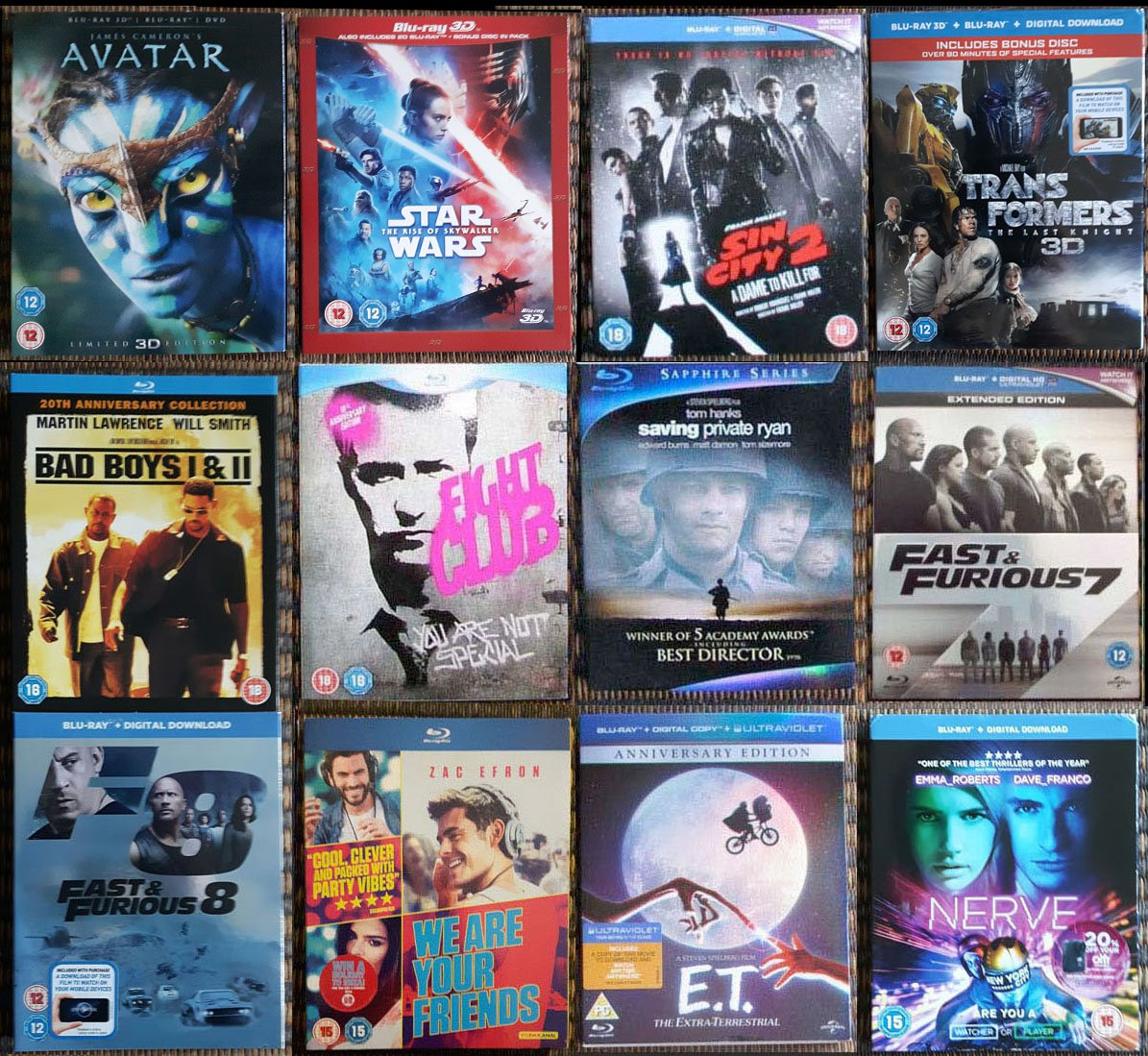 12x Blu-ray slip covers E.T. Avatar 3D Fight Club Transformers Fast and furious 7 8
