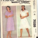 McCALL'S 7028 PATTERN 1980 MISSES' PEASANT STYLE DRESS SZ SM 10-12