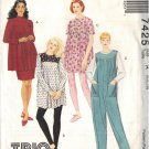 McCALLS 7425 Maternity PATTERN DATED TOPS,JUMPSUIT,PULL-ON SKIRT,LEGGINGS 6/8/10