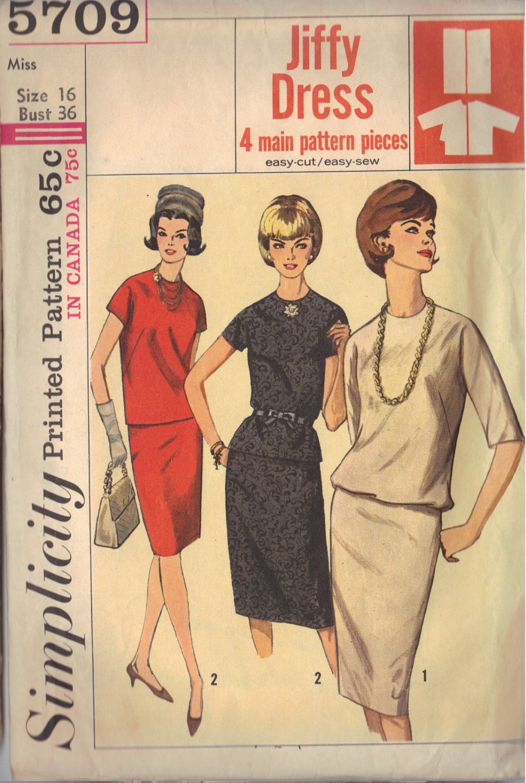 SIMPLICITY 5709 PATTERN 1964 SZ 16 MISSES' TWO-PIECE DRESS IN 3 LOOKS