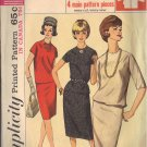 SIMPLICITY 5709 PATTERN 1964 SZ 16 MISSES' TWO-PIECE DRESS IN 3 LOOKS
