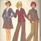 SIMPLICITY 6619 DATED 1974 MISSES' CARDIGAN, SHORT SKIRT AND PANTS SIZE 13/14