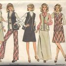 SIMPLICITY 6525 MISSES JUMPER, VEST AND PANTS PATTERN 1974 SZ 8