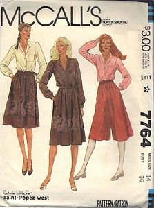 McCall's pattern 7764, dated 1981, for Misses' BLOUSE, CULOTTES, SKIRT size 14