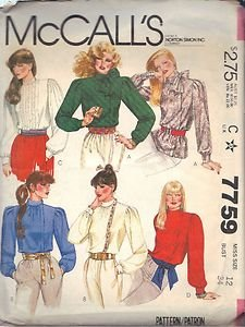 McCall's pattern 7759, dated 1981, for Misses' BLOUSES IN 6 VARIATIONS size 12