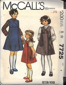McCALL'S PATTERN 7725 DATED 1981 GIRL'S JUMPER AND BLOUSE SZ 8 UNCUT