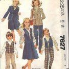 McCall's pattern 7627 dated 1981 GIRLS' BLAZER, VEST, SKIRT, PANTS SIZE 7
