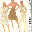 McCall's Pattern 7533 dated 1981 Misses' Top, Skirt and Pants size 12