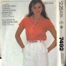 McCall's Pattern 7492 dated 1981 sizes Petite,Small, Medium Misses' Shirt
