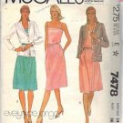 McCall's Pattern 7478 dated 1981 Misses' Jacket, Dress, Belt size 14