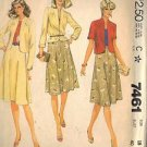 McCall's Pattern 7461 dated 1981 Misses' Jacket or Blazer and Skirt size 18