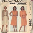 McCall's Pattern 7456 dated 1981 for a dress and jacket in size 12 ONLY