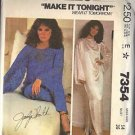 McCall's Pattern 7354 dated 1980 Misses' Cover-up,Dress or Top and Pants size 14