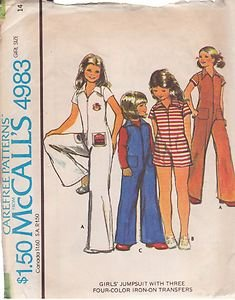 McCALL'S PATTERN 4983 GIRLS' JUMPSUIT IN 3 VARIATIONS SIZE 14
