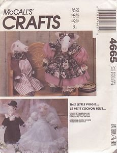 McCALL'S PATTERN 4665 DATED 1990 FOR A BRIDE AND GROOM STUFFED PIG, CLOTHING