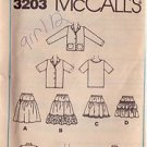 McCALL'S PATTERN 3203 GIRLS' TOP SHIRT, JACKET, TIERED SKIRT SIZE 12