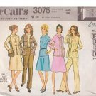 McCALL'S PATTERN 3075 MISSES' BLOUSE, SKIRT, PANTS, JACKET SIZE 16 1/2
