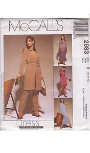McCALL'S PATTERN 2983 DATED 2000 MISSES' DRESS, TOP, SKIRT, PANTS SZS 8-10-12
