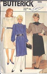 BUTTERICK PATTERN 6095 MISSES' DRESS 3 VARIATIONS SIZE 12 UNCUT