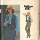 BUTTERICK PATTERN 5593 MISSES' VEST, SKIRT, PANTS SIZE 18 1/2 UNCUT