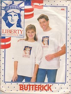 BUTTERICK PATTERN 499 UNISEX T-SHIRT WITH PATRIOTIC TRANSFER SZS XS-S-M-L