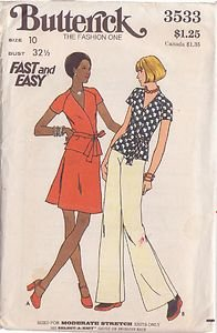 BUTTERICK PATTERN 3533 MISSES' TOP, SKIRT AND PANTS SIZE 10