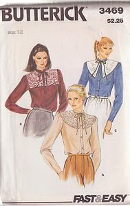 BUTTERICK PATTERN 3469 MISSES' BLOUSE AND TIE ON COLLARS SZ 12 UNCUT
