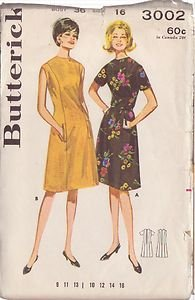 BUTTERICK PATTERN 3002 SIZE 16 MISSES' PRINCESS SEAMED DRESS IN 2 VARIATIONS