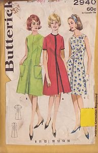 BUTTERICK PATTERN 2940 JUNIOR & MISSES' FRONT PLEATED DRESS SIZE 11