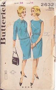 BUTTERICK PATTERN 2632 MISSES' SHEATH DRESS AND JACKET SIZE 14