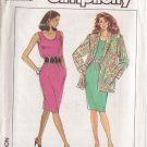 SIMPLICITY PATTERN 9019 MISSES' DRESS, UNLINED JACKET SIZES 6 AND 8