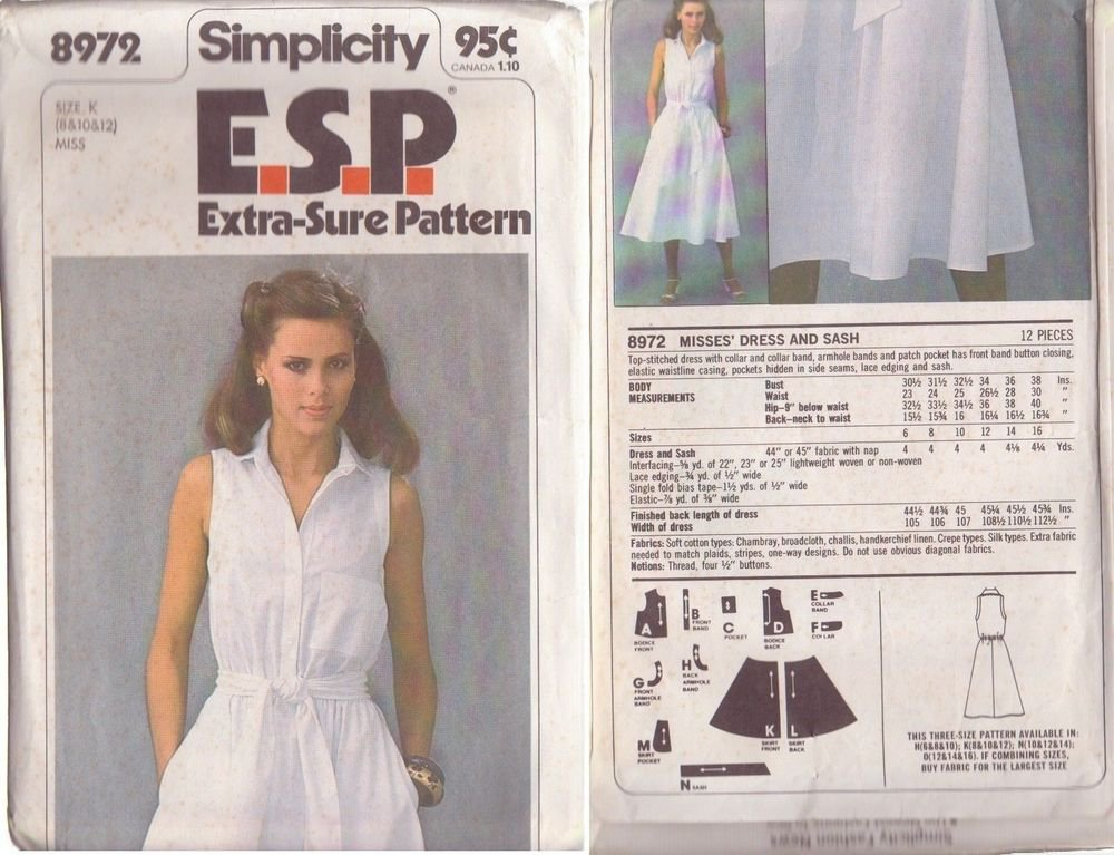SIMPLICITY PATTERN 8972 MISSES� DRESS AND SASH SIZES 8-10-12