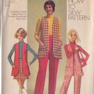 SIMPLICITY PATTERN 8917 MISSES' VEST, MINI-SKIRT, PANTS SIZE 14