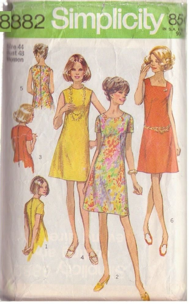 SIMPLICITY PATTERN 8882 MISSES' DRESS WITH 3 NECKLINES SIZE 44