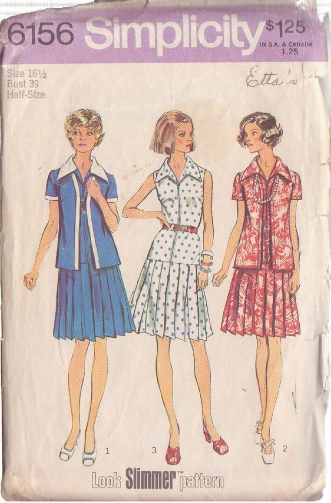 SIMPLICITY PATTERN 6156 MISSES' UNLINED JACKET, DRESS SIZES 16 1/2