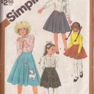 SIMPLICITY PATTERN 6131 SIZES 7-8-10 GIRLS' SKIRTS IN 3 LENGTHS POODLE APPLIQUE.