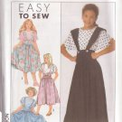 SIMPLICITY 9528 PATTERN DATED 1989 GIRL'S PULLOVER TOP, SUSPENDER SKIRT SZ 7-14
